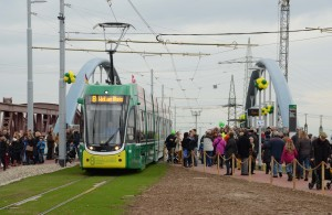 """Opening ceremony for the project """"Tram 8 grenzenlos"""" 14.12.2014, © Silvio Suter"""